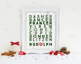 Reindeer Names Art Printable / Rudolph wall art / Reindeer Names Subway Art / Christmas Art / Reindeer Names Wall Print / 4 for price of 1