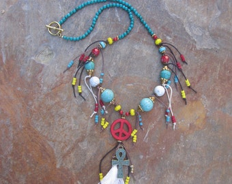 Bohemian Beaded multi tassel necklace artisan turquoise red yellow necklace gypsy necklace boho accessories patina cross necklace peace sign