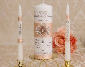 Rose Gold Wedding Unity Candle Set, Rose Gold Unity Candle Set, Personalized Ceremony Blush Unity Candles Set, Crystal Wedding Candle Set