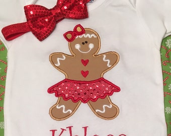 Girl Christmas Shirt, Girl Christmas Bodysuit, Girl Gingerbread Shirt, Girl Gingerbread Bodysuit, Girl Toddler Christmas Shirts