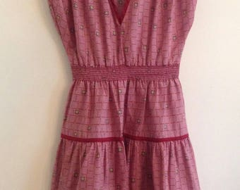 Super Cute Vintage 1970s Girls Cotton Blend Sleeveless Burgundy Print Dress with Ruched Shoulders