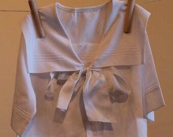 Boy's White Sailor Blouse or Shirt, Cotton, Sailor Collar, Large Satin Detachable Bow, Made by Mela Wilson, Heirloom, Portrait Clothing, 2T