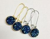 Peacock Druzy Earrings, Blue Drusy Earrings, Druzy Earrings in Mermaid, Metallic Blue Druzy, Blue Green Druzy Earrings, Druzy Drop Earrings