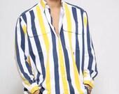Tommy HILFIGER Stripe Shirt/ 90's/ Button Down Shirt/ Mens Shirt/ Vintage Menswear