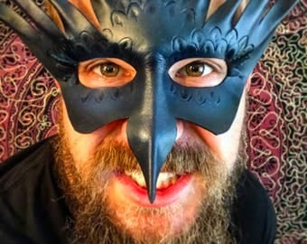 Raven Leather Mask Blue and Black