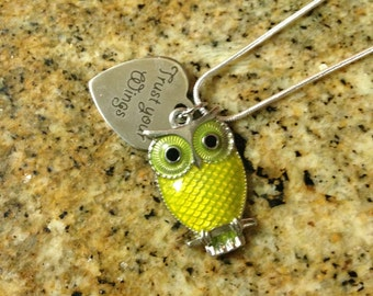 "Owl Necklace *Yellow* with Heart Shaped Quote Charm / ""Trust Your Wings"""