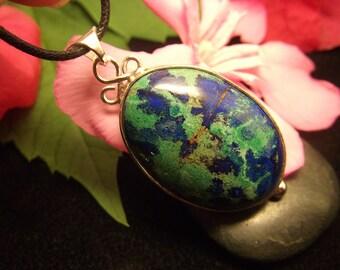 Azurite Malachite Pendant Sterling Silver Azurite Necklace Malachite Necklace Handmade Design Azurite Pendant