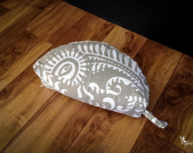 Moon Crescent Meditation Pillow Travel buckwheat cushion Half Zafu Gray Paisley by Creations Mariposa