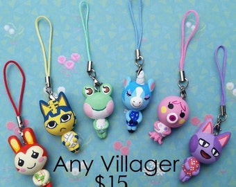 Any Animal Crossing Character charm on a cell phone 3DS strap or necklace / cute villager Animal Crossing inspired dreamie NPC charm fan art