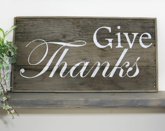 Rustic Large Barn Wood Sign, Give Thanks, Thanksgiving November, Primitive, Grateful, Autumn Decor, Country Fall - Barnwood Pallet