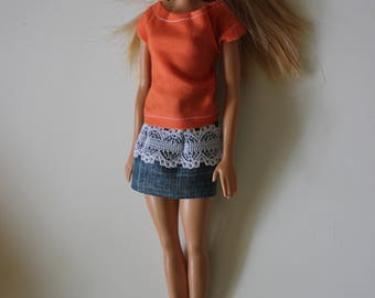 11.5 inch doll clothes; jean skirt and orange shirt