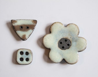 3 ceramic buttons, large flower button and geometric buttons, white glazed buttons, Handmade Stoneware Buttons, Sewing Supplies
