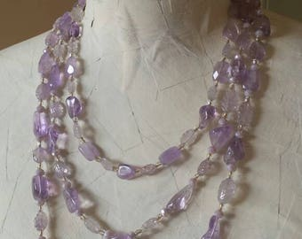 Handmade Amethyst Three Strand Necklace, Carved Amethyst Necklace, Violet Necklace, Multistrand Necklace, Purple Necklace, Carved Leaves