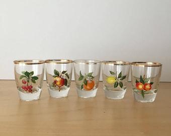 Set of 5 vintage Shot/Liqueur Glasses- Kitsch Fruity Design