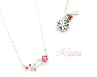 SNOW COVERED CHERRIES 8mm Crystal Chaton Necklace Made With Swarovski Elements *Sterling/Shiny *Karnas Design Studio™ *Free Shipping*
