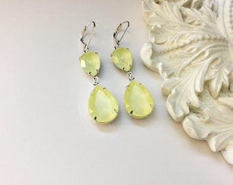 Pastel Yellow Swarovski Drop Earrings