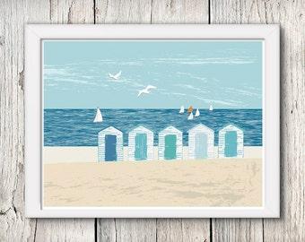 Art print - beach huts - coastal art - beach house decor - nautical print - seaside gift - UK shops - A4 print
