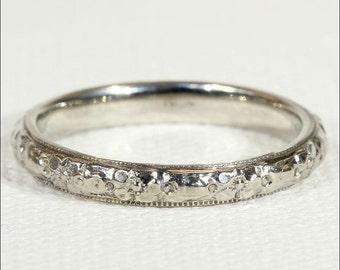 Vintage 18k White Gold Wedding Band Ring, Size 6.75 US