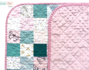 Baby Stroller Car Seat Quilt in Pink, Teal, & Gold