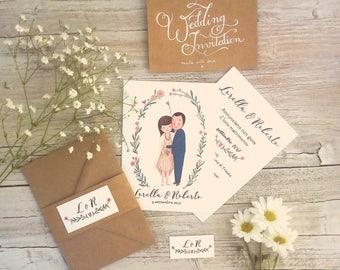CUSTOM WEDDING INVITATION - married couple original illustration