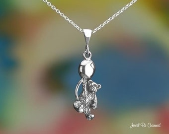 Sterling Silver Teddy Bear with Balloon Necklace or Pendant Only .925