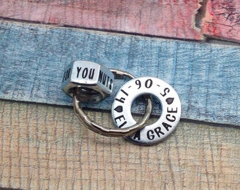 Best valentine gift for him, Father's Day Gift, Dad Washer and Nuts Keychain, Husband Gift, New Dad Gift, Personalized, Key Ring, CUSTOM