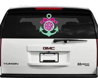 Personalized Anchor Bow Monogram Decal Vinyl Sticker • Vehicle • Yeti • Tumbler • RTIC • Custom • Customized