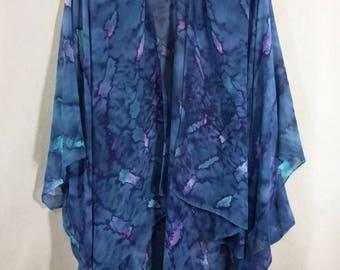 "Silk Ruana Cape ""Navy and Purple Blend"", Hand Painted Silk Jacket, Silk Chiffon Cape"