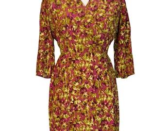 Original Vintage 1940's War Time Rayon Silk Day Dress By Ursula Applec Size XL