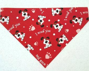 I woof you Valentine dog bandana slides over the collar