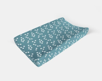 Changing Pad Cover Teal Plus Sign. Change Pad. Changing Pad. Baby Bedding. Minky Pad Cover. Teal Pad Cover.