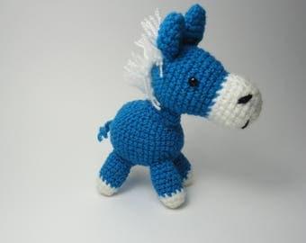 Donkey animal toy, Girl boy baby gift Toy, Handmade Crochet Donkey, Baby Birthday gift toy, Stuffed Donkey Plush toy, Amigurumi Donkey