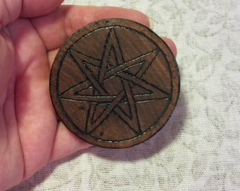 7 Pointed Elven Star Pentacle Small Birch Woodburned Travel Size Septagram Disk, Wicca Pagan Magick Ritual Tool
