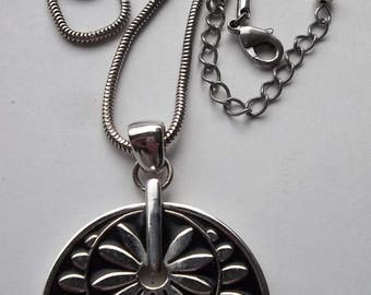 Black Silver Double Flower Pendant Necklace  * CC