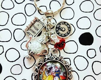 Beauty and the Beast Stained Glass Beast and Belle Charm Keyring Tale as Old as Time