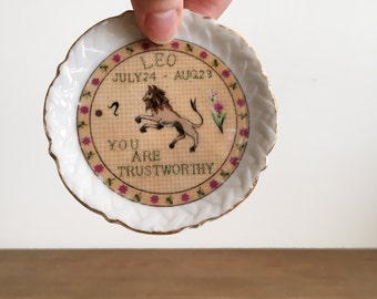 Vintage Zodiac Ring Dish - Leo Jewelry Dish - Horoscope Catch All