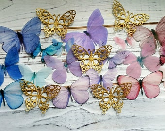 23 Pink Blue Purple & Gold Romantic Shimmering Edible Butterflies Cake Toppers.