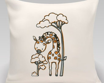 Throw pillow-Throw pillow cover-Can be personalized -Embroidered pillow cover-Giraffe-Nursery decor-Handmade pillow-Princeton Threads