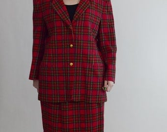 80s Brooks Brothers Red Tartan Plaid Suit, 2 Piece Suit, Skirt Suit, Plus Size Suit, Size 1X / 16