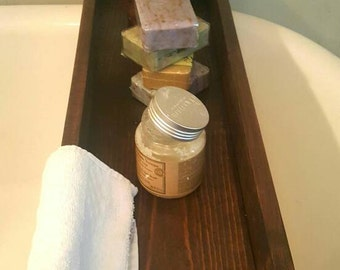 Bath tub caddy, Rustic wood bathtub tray, Wooden bath shelf, Clawfoot tub box, Bathroom storage, Tub tray, Spa bathroom, Bath organization