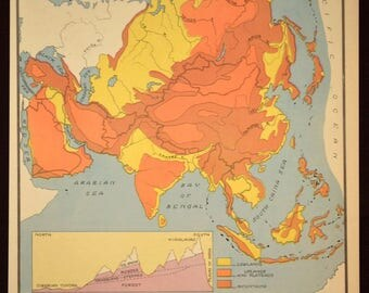 Asia Map of Asia Wall Art Colorful Physical Map Vintage