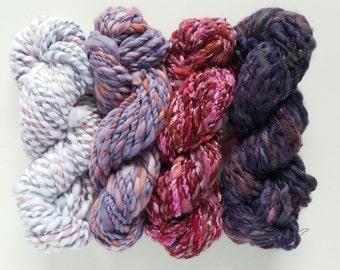 Weavers Pack. Hand Dyed Art Yarn. Yarn Bundle. Mini Skeins. Hand Spun Yarn. Yarn Set. Yarn Kit. Knitting. Crochet. Merino Wool. Silk Noil.