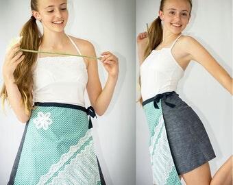 Girls wrap skirt, girls sewing pattern, tween pattern, girls woven pattern, girls skirt pdf, girls pdf pattern, wrap skirt, skirt pattern