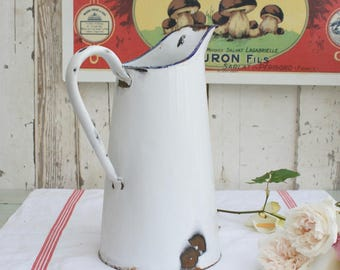 Enamel Pitcher/French Enamelware/French Pitcher/French Vintage/White Enamel Pitcher/Vintage Pitcher