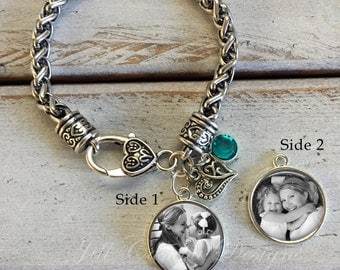 photo bracelet, personalized photo bracelet, photo jewelry, photo gifts, picture bracelet, double sided photo charm, photo charm bracelet