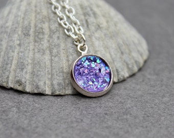 Purple Druzy Necklace, Purple Necklace, Purple Pendant Necklace, Purple Bridesmaid Necklace, Faux Druzy Necklace, Dainty Necklace
