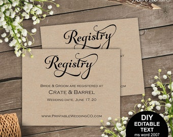Registry card, wedding registry, wedding registry card, gift registry, rustic, printable wedding, template, DIY  #S4MR1