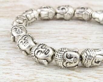 Silver Tibetan Buddha Stretch Bracelet