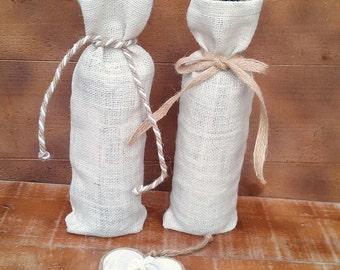 Ivory Burlap Wine Bottle Holder - Ivory Burlap Wine Bag - Wine Cozy- Wedding Table Decor - Wine bag - Wine Sack - Qty 6 - Choose cord