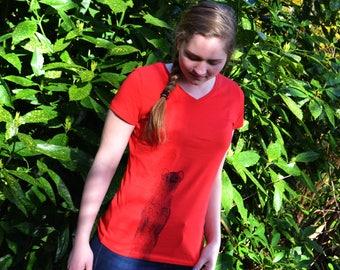 Women's T-shirt Red - Fair trade T-shirt ecofriendly - weasel print animal - V neck T-shirt woman - fitted T-shirt size S M L